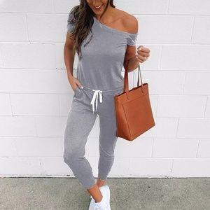 Pants - Light Grey Off Shoulder Jumpsuit Ankle Length